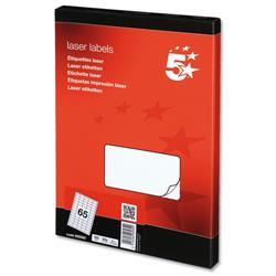 5 Star Office Multipurpose Labels Laser 65 per Sheet 38.1x21.2mm White [6500 Labels]