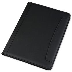 5 Star Office Conference Folder Folio Leather Look Writing Case A4 Black