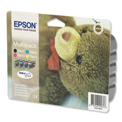 Epson T0615 Inkjet Cartridge Teddy Page Life 1000pp Black/Cyan/Magenta/Yellow Ref C13T06154010 - Pack 4