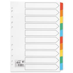 5 Star Office Index 150gsm Card with Coloured Mylar Tabs 10-Part A4 White
