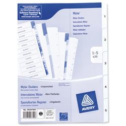 Avery Index Unpunched 1-5 White A4 Ref 05247061 - Pack 20