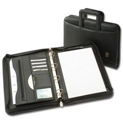 5 Star Office Zipped Conference Ring Binder with Handles Capacity 60mm A4 Leather Look Black