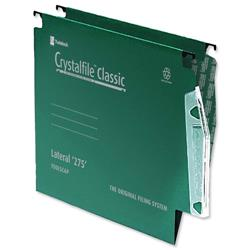 Rexel Crystalfile Classic Lateral File Manilla 275mm V-base Green Ref 78652 [Pack 50]