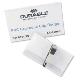 Durable Name Badges with Crocodile Clip 54x90mm Ref 8111 - Pack 25