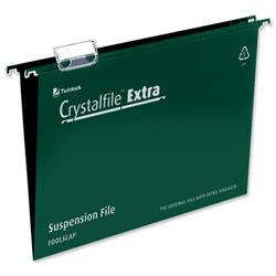 Rexel Crystalfile Extra Suspension File Polypropylene 15mm Foolscap Green Ref 70628 [Pack 25]