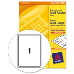 Avery Multipurpose Label Laser Copier Inkjet 1 per Sheet 210x297mm White Ref 3478 [100 Labels]