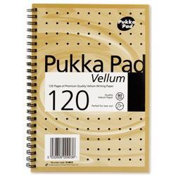 Pukka Pad Vellum Notebook Wirebound Perforated Ruled 80gsm 120pp A5 Vellum Ref VJM/2 - Pack 3