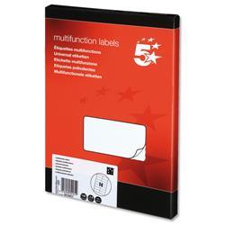5 Star Office Labels Laser Copier and Inkjet 14 per Sheet 105x42mm [1400 Labels]