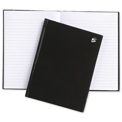 5 Star Office Notebook Casebound Hard Cover Ruled 80gsm A5 Black [Pack 5]