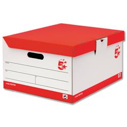 5 Star Office Storage Trunk Hinged Lid Red & White [Pack 10]