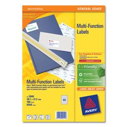 Avery Multipurpose Labels Laser Copier Inkjet 65 per Sheet 38.1x21.2mm White Ref 3666 [6500 Labels]