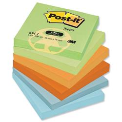 Post-it Notes Recycled 100 Sheets per Pad 76x76mm Pastel Rainbow Ref 654-1RP - Pack 12