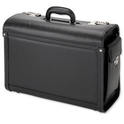Alassio Genova Pilot Case Multi-section 2 Combination Locks Leather-look Black Ref 45028