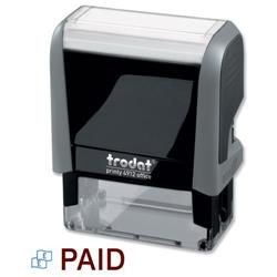 Trodat Office Printy Stamp Self-inking Paid 18x46mm Red Symbol and Blue Wording Ref 81411