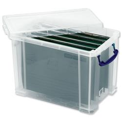 Really Useful Filing Box Plastic 10 suspension files Foolscap 24 Litre W270xD465xH290mm Ref 24C&10susp