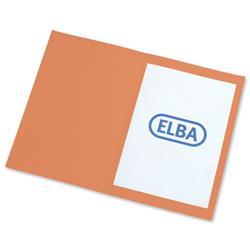 Elba Square Cut Folder Recycled Heavyweight 285gsm Foolscap Orange Ref 100090220 [Pack 100]