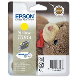 Epson T0614 Inkjet Cartridge Teddybear Page Life 250-420pp Yellow Ref C13T06144010