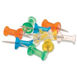 5 Star Office Push Pins Assorted Translucent [Pack 100]
