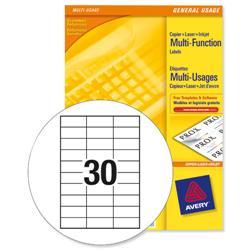 Avery Multipurpose Labels Laser Copier Inkjet 30 per Sheet 70x29.7mm White Ref 3489 [3000 Labels]