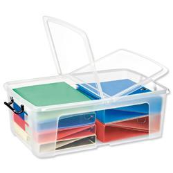 50 L Strata HW675 50 Litre Smart Storemaster Box Folding Lid & Clip Handles Clear Ref HW675CLR