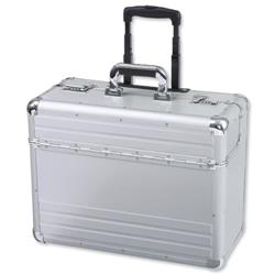 Alumaxx Omega Trolley Pilot Case 2 Combination Locks Silver Aluminium Ref 45122