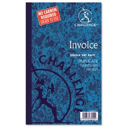 Challenge Duplicate Book Carbonless Invoice Single VAT/Tax 100 Sets 210x130mm Ref 100080412 - Pack 5