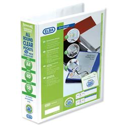 Elba Panorama Presentation Ring Binder PVC 4 D-Ring 50mm Capacity A4 White Ref 400008433 [Pack 4]
