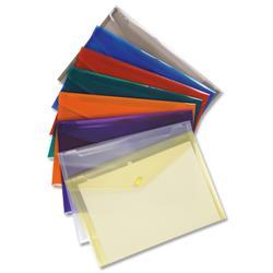 5 Star Office Envelope Stud Wallet Polypropylene A4 Translucent Assorted [Pack 25]