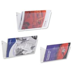 Literature Wall Pockets Unbreakable Landscape A4 Crystal [Pack 3]