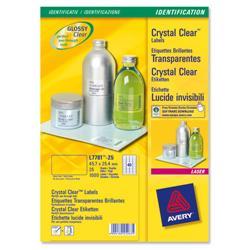 Avery L7781 Crystal Clear Laser Labels Transparent Ref L7781-25 - 1000 Labels