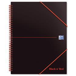 Black n Red Meeting Book Plastic Wirebound Rear Elasticated 3-Flap Folder A4plus Ref 100104323 - Pack 5