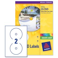Avery L7760 Laser CD Labels Glossy Colour 117mm Dia. Ref L7760-25 - 25 Sheets