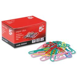 5 Star Office Paperclips Metal Large 33mm Assorted Colours [Pack 10x100]