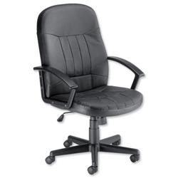 Trexus High Back Manager Armchair W520xD480xH420-530mm Backrest H620mm Leather Black