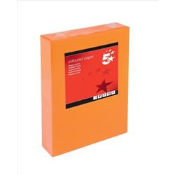 5 Star Office Coloured Copier Paper Multifunctional Ream-Wrapped 80gsm A4 Deep Orange [500 Sheets]