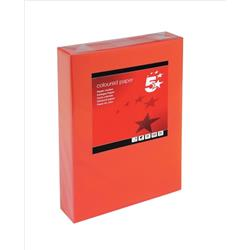 5 Star Office Coloured Copier Paper Multifunctional Ream-Wrapped 80gsm A4 Deep Red [500 Sheets]