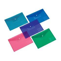 5 Star Office Envelope Stud Wallet Large Front Pocket Polypropylene A4 Assorted [Pack 5]