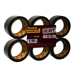 Scotch Heavy Packaging Tape High Resistance Hotmelt 50mmx66m Brown [Pack 6] Ref UU005262843