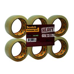 Scotch Heavy Packaging Tape High Resistance Hotmelt 50mmx66m Clear [Pack 6] Ref UU005262835