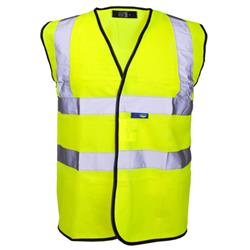 Supertouch High Visibility Vest with Velcro and Black Binding Large Yellow Ref 35243