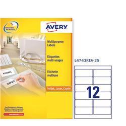 Etichette adesive Avery removibili - 99,1x42,3 mm - 12 etichette/ff - 25 fogli