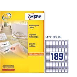 Etichette adesive Avery removibili - 25,4x10 mm - 189 etichette/ff - 25 fogli