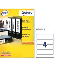 Etichette Avery per raccoglitori - 192x61 mm - laser - 4 etichette/ff - 25 fogli