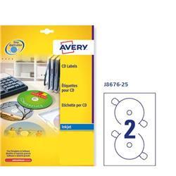 Etichette full-face per CD/DVD Avery - inkjet - bianco opaco - 2 etichette/ff - 25 fogli