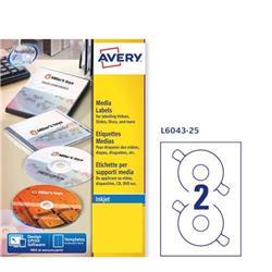 Etichette classiche per CD/DVD Avery - inkjet/laser - bianco - 2 etichette/ff - 25 fogli