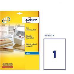 Etichette trasparenti Avery - QuickPEEL - inkjet - A4 - 1 etichetta/ff - 25 fogli
