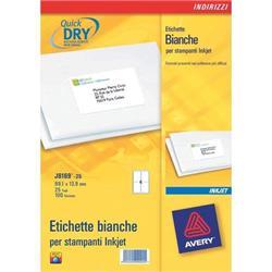 Etichette adesive per indirizzi - Avery - Quick Dry - 63,5x33,9 mm  - 24 etichette/ff - 25 fogli