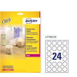 Etichette lucide invisibili Avery - 24 etichette/ff - ø 40 mm - 190 g/mq - 24 etichette/ff - 25 fogli