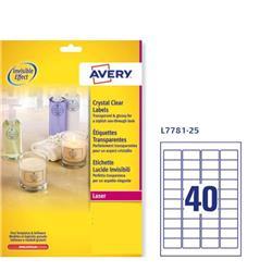 Etichette lucide invisibili Avery - 40 etichette/ff - 45,7x25,4 mm - 190 g/mq (conf. 25 fogli) - 40 etichette/ff - 25 fogli