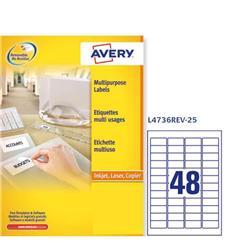 Etichette adesive Avery removibili - 45,7x21,2 mm - 48 etichette/ff - 25 fogli